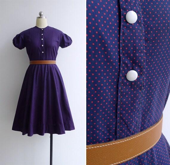 SALE Vintage 40's 50's Indigo Blue Polka Dot Puff