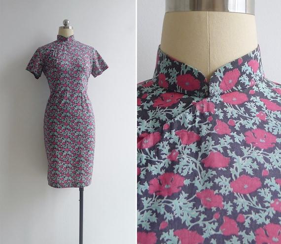 Vintage 70's Chinese Peonies Floral Print Cheongsa