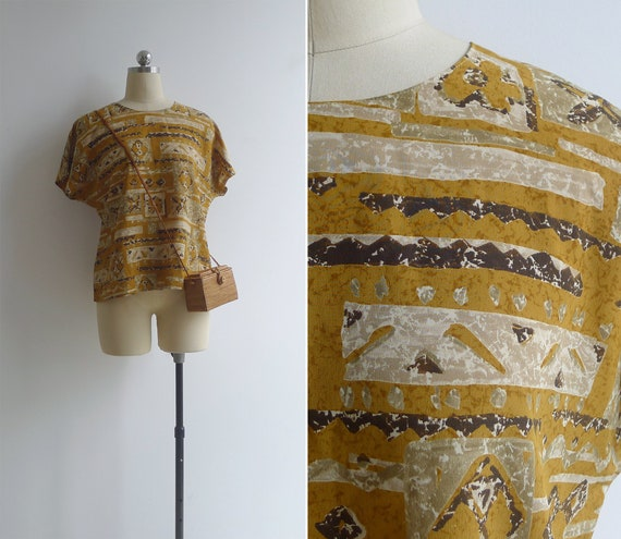 Vintage 80's Mustard Yellow Abstract Print Blouse