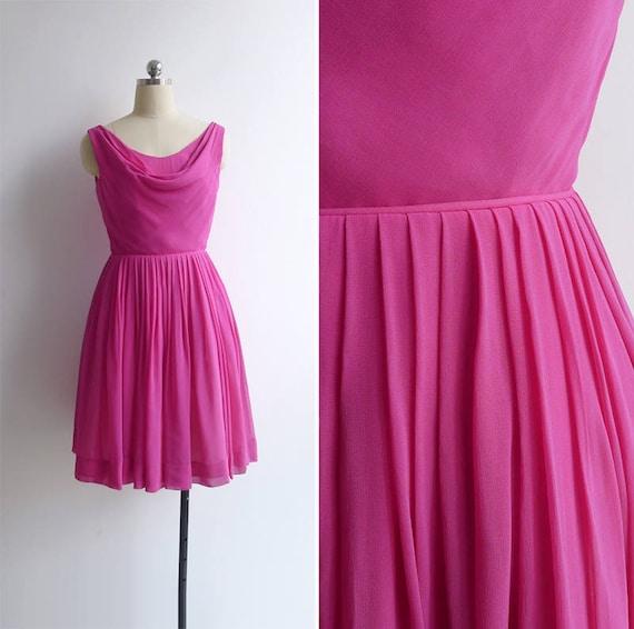 Vintage 50's Silk Chiffon Pink Cowl Neck Party Dre