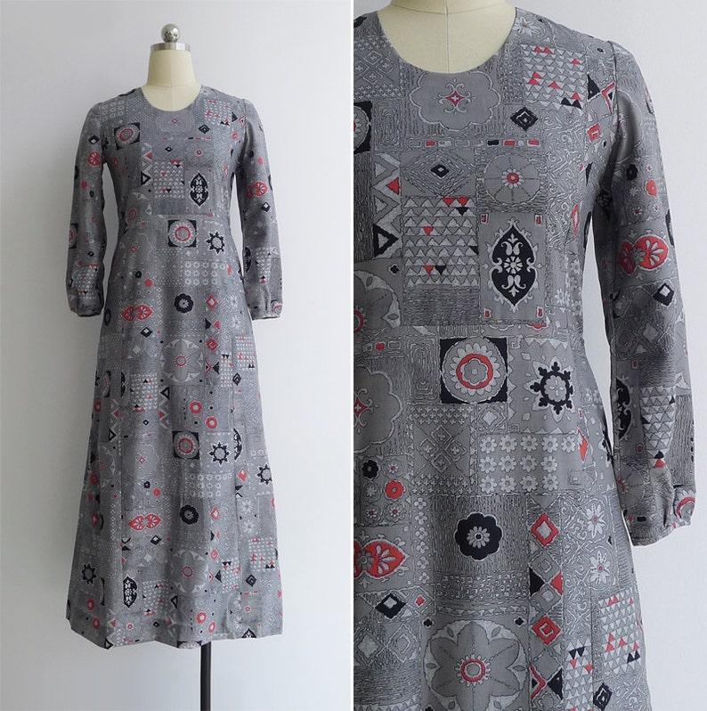 2898ce2f39b Vintage 70 s Abstract Tiki Print Hostess Maxi Dress XS or