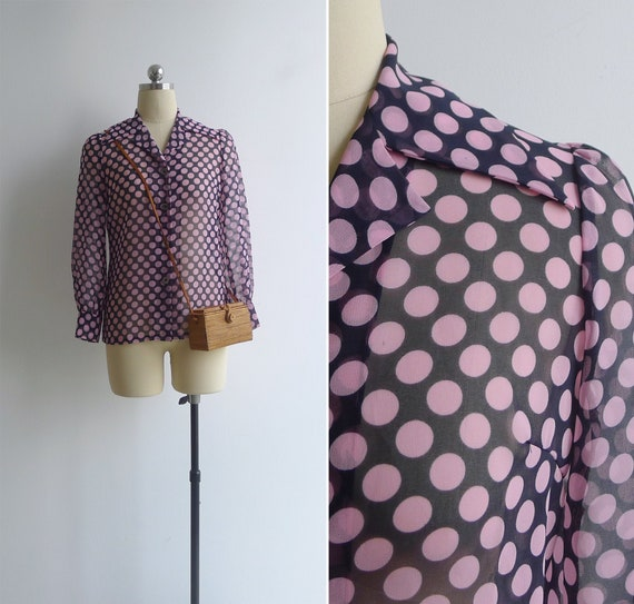 Vintage 70's 'Dotty' Pink Spot Print Sheer Collare