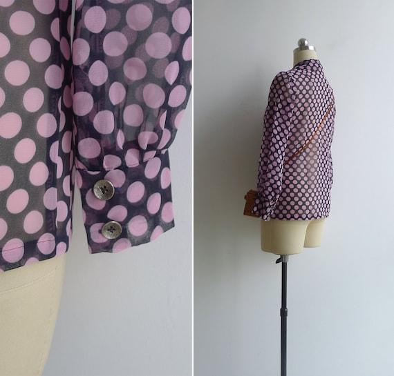 Vintage 70's 'Dotty' Pink Spot Print Sheer Collar… - image 5