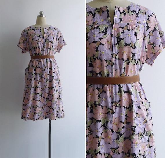 Vintage 80's 'Eclectic Florals' Cotton Zip Front H