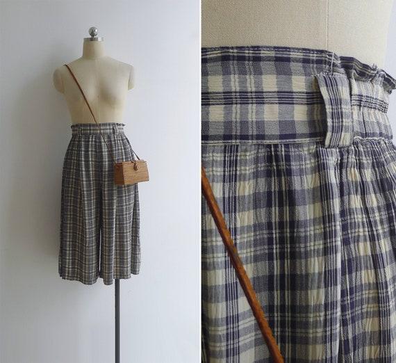 Vintage 90's Cream & Navy Check Culotte Wide Leg T