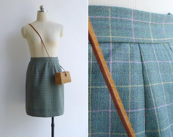 Vintage 80's Green & Pastel Grid Window Pane Check Skirt XS or S
