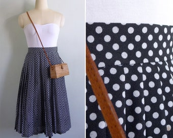 Vintage 80's 'Minnie Mouse' Black & White Polka Dot Pleated Skirt XS