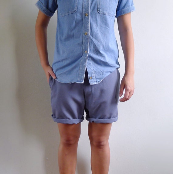 Vintage Mens 70's Dusty Blue Gray Tailored Shorts