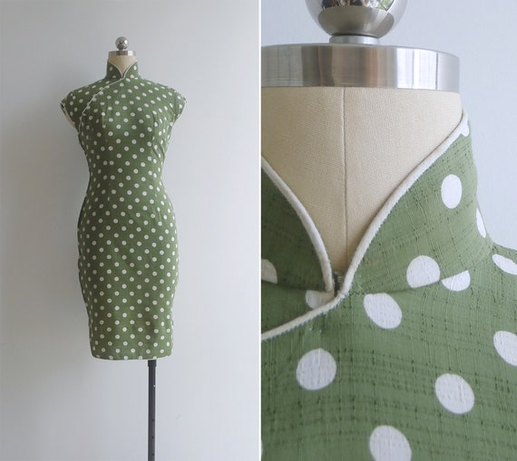 Vintage 50's Olive Green Polka Dot Hourglass Silk