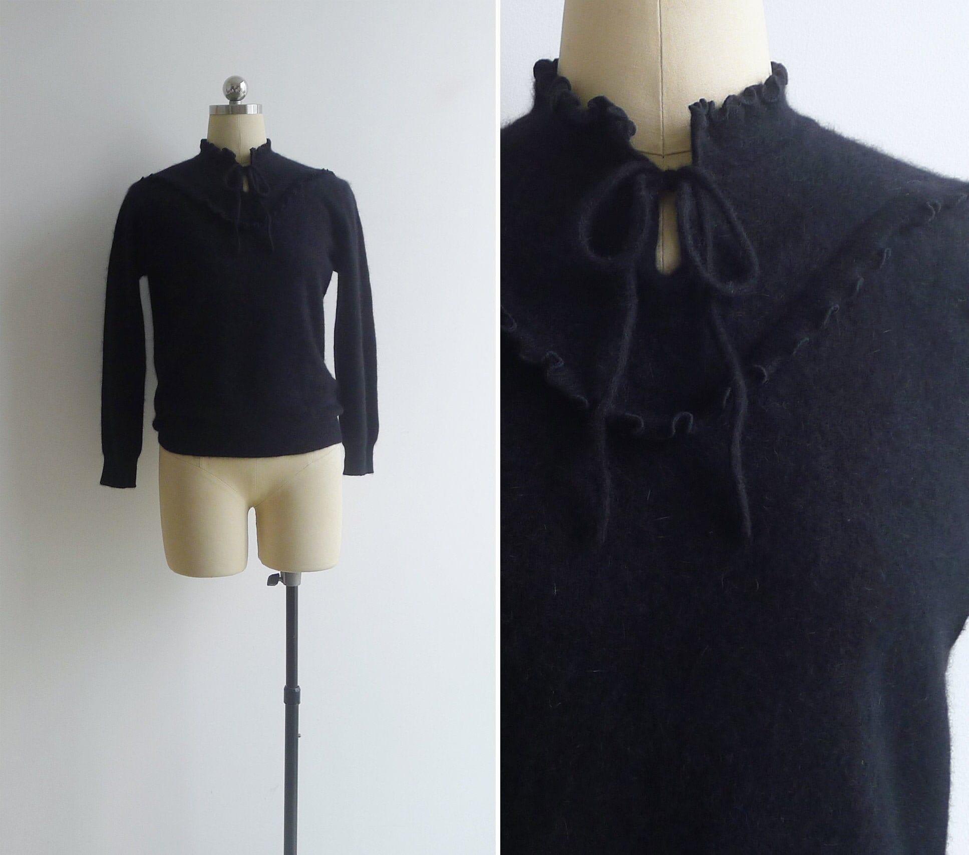 80s Sweatshirts, Sweaters, Vests | Women Vintage 80s Black Wool Ribbon Tie Ruffled Sweater Top S M L $42.00 AT vintagedancer.com