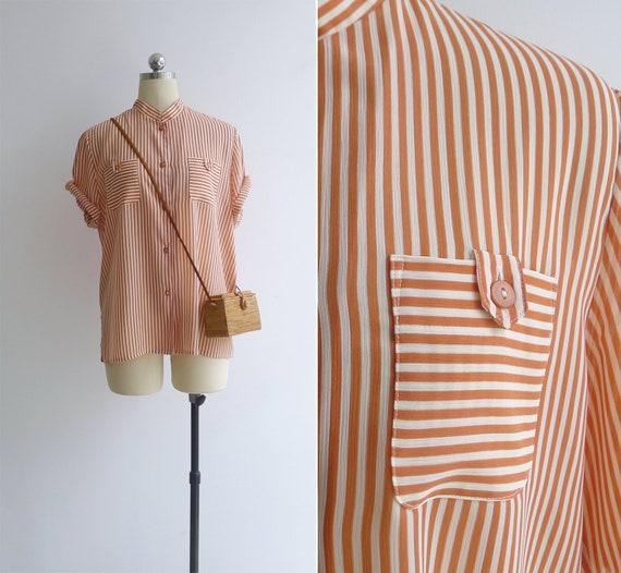 Vintage 80's Orange & White Striped Oversized Blou
