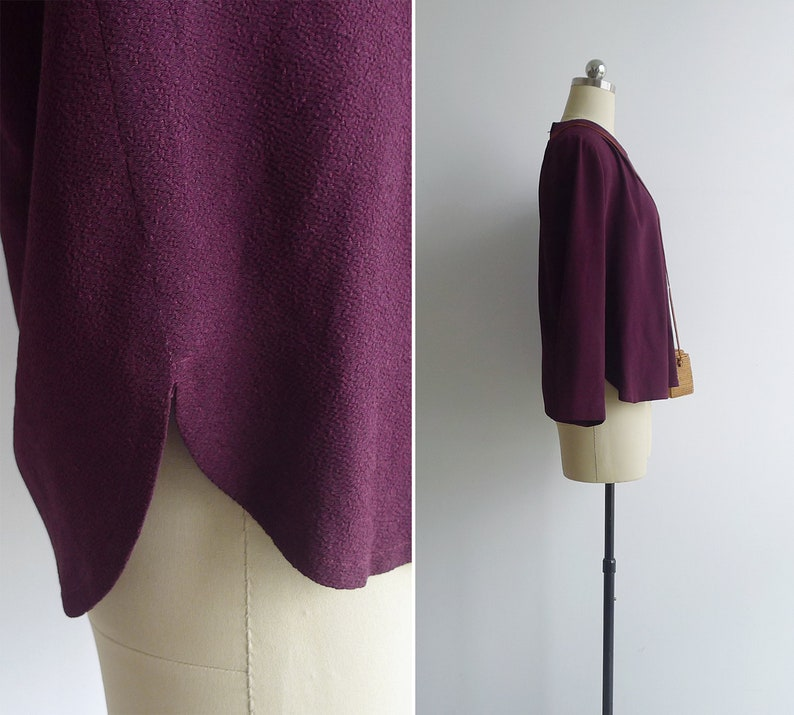 Vintage 80/'s Maroon Red Pleat Blouse M or L