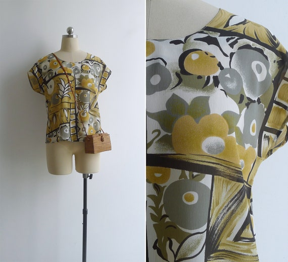 Vintage 80's 'Fruit & Flowers' Mustard Yellow Abst
