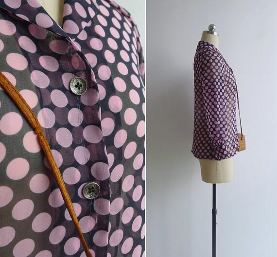 Vintage 70's 'Dotty' Pink Spot Print Sheer Collar… - image 4