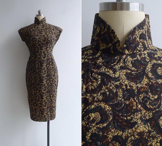 Vintage 50's Golden Batik Black & Brown Print Cheo