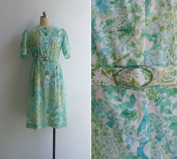 Vintage 80's 'Watercolor Florals' Green Japanese C