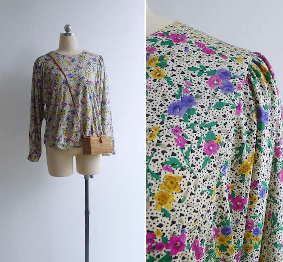 SALE - Vintage 80's 'Eclectic Florals' Abstract Pr
