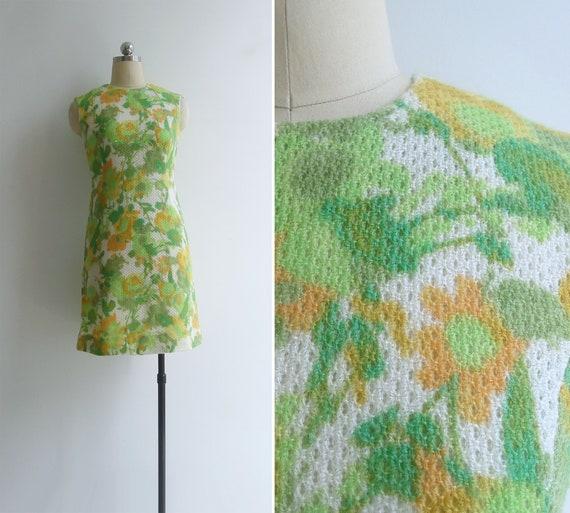 Vintage 70's Kitschy Mod Floral Knit Pencil Shift