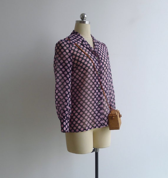 Vintage 70's 'Dotty' Pink Spot Print Sheer Collar… - image 2