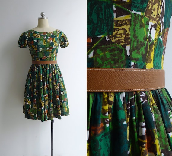 Vintage 50's Abstract Print Green Cotton Puff Slee