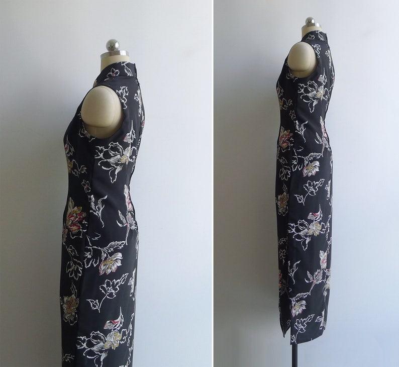 Vintage 70/'s Black /'Flora /& Fauna/' Cheongsam M-L