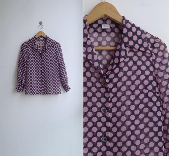 Vintage 70's 'Dotty' Pink Spot Print Sheer Collar… - image 6