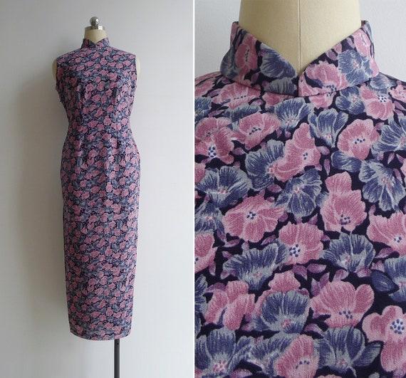 Vintage 70's Poppy Floral Pink & Purple Cheongsam