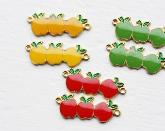 Apple Charm Red, Apple Charms, Apple, Fruit Charms, Fruit Charm, Red Charm, Necklace Charm, Red Connector, Connector, Red (6x) - Red Only