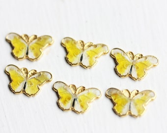 Yellow Butterfly Charms, Butterfly Cabochons, Enamel Cabochons, Yellow Cabochons (6x)