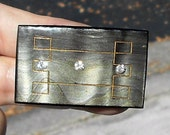 SALE Celluloid Rhinestone Brooch Shades of Gray with Gold Geometric Art Deco Accents. oNLY 24.50