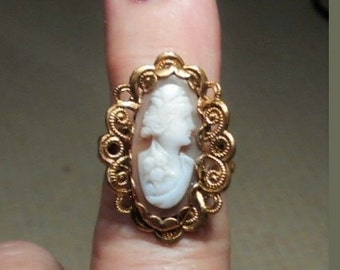 Shell Cameo RING Vintage Brass Western Germany Scalloped Adjustable 4-7 1/2 Ring 1940s Carnelian Shell Cameo w/ Hair Band, Corsage 99.90