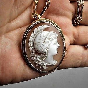 1930s Athena Female Warrior CAMEO Sash Pin Brass Hand Wrought Setting Carved Shell Goddess w Plume Helmet /& Shield  C Clasp w Necklace
