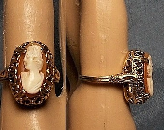 Gold Tone Raised Basket Brass Vintage Ring Size 6 14 Only 39.90 One of a Kind! Dainty w Headdress Cameo 1 Tan Celluloid 1920s Cameo Ring
