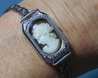Antique CAMEO in Silvered Vintage Watch Face Band,100 Yr Old, Hand Carved Shell Cameo in Watch w/ No Guts, Only Beauty OOAK 99.90