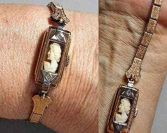Antique CAMEO in Edwardian Gold Fill Watch Case, Band 1880s, Flapper Watch Case Filigree Band w/ Hand Carved Cameo No Watch Guts Just Beauty
