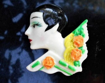 40s Celluloid Flapper Cameo Very Short Hair Hand Painted with Slight Blush on Cheek & Blue Eye Shadow, 3D Figural Brooch  Only 69.90