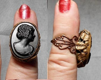 1 Ornate Floral Brass Black CAMEO Ring From the 1930s. Open Work Applied Flowers, Leaves w/ Celluloid & Black Jet Cameo Ring ADJUSTABLE 3-5