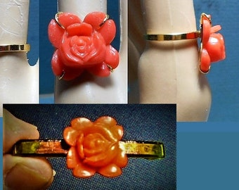 1 Celluloid Rose Adjustable RING, Carved Orange Celluloid Cabbage Rose Ring on New Small 24 K Gold Plated Ring 29.90 Matching Barrette Avail