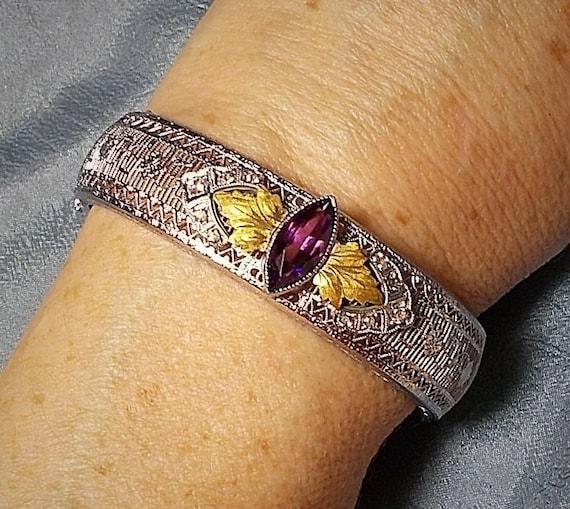 Purple Stone Signed PSCO Filigree Style Bracelet