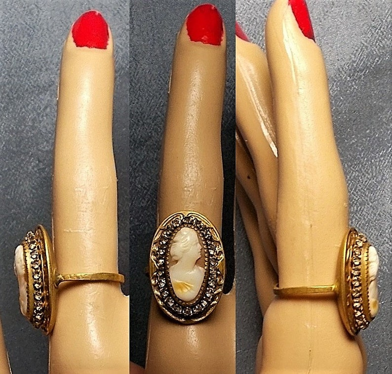 1 Brass Rhinestone CAMEO Ring Master Carved Large Victorian Colorful Shell Cameo 1940s Original Etched Size 7 One of a Kind Only 124.90