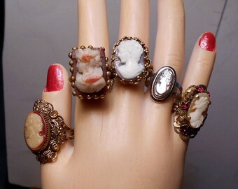 1 Ornate Scroll Rhinestone Brass Open Work,  Celluloid Czech CAMEO Ring,  Signed Czechsolakia Adjustable 3.5-6 Original From 40s  Only 79.90