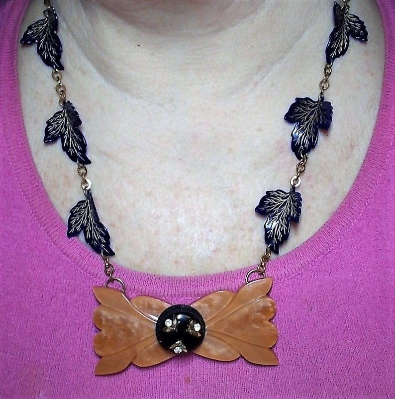 1930s Butterscotch Necklace Button BeltBuckle on Antique 1940s Blue Celluloid Gold Highlighted Deeply Carved Lifelike Leaves a Brass Chain