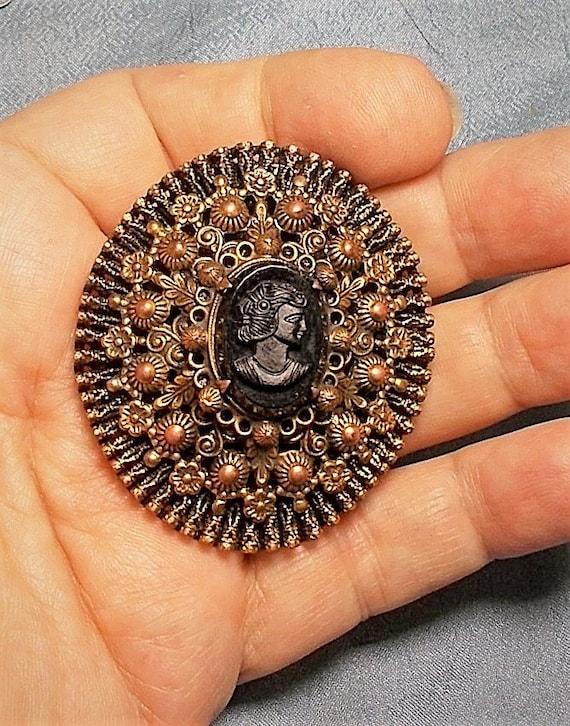 Large Celluloid Plastic Black Cameo Womans Head Vintage Button