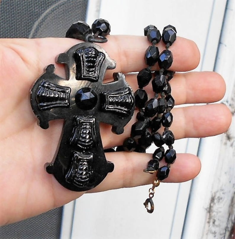 23 Long Black Jet Glass Necklace Great Condition 130+ Years Old  on Orig Antique Large Victorian Black Jet Mourning Cross Deeply Carved