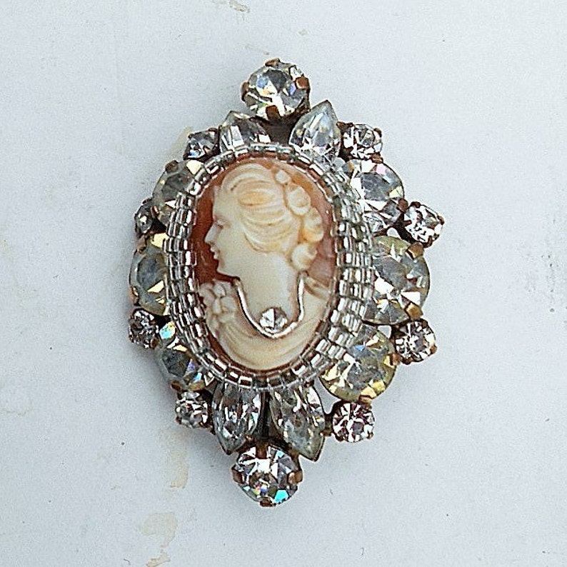 SALE  Habille Cameo Vintage Hand Carved Shell Art Deco Brooch Pendant of Sparkling Large Rhinestones Brooch 89.00 Pendant Converter Avail.