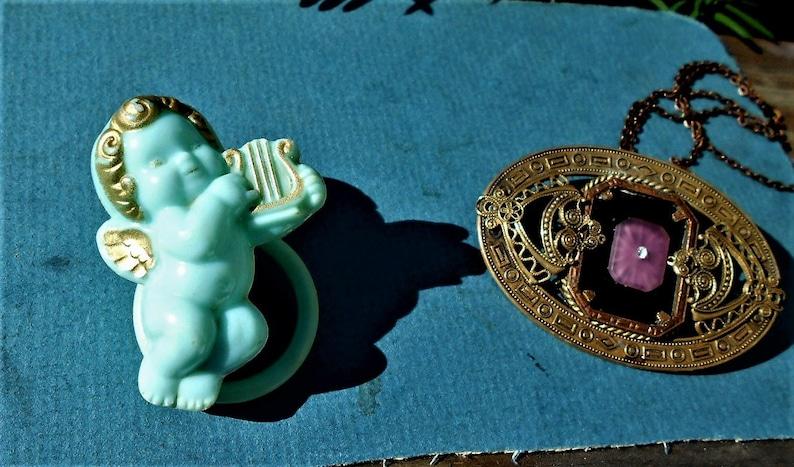 3 Brass Greek Art Deco Layers Geometrics Filigree 2 Added  Vintage Camphor Glass Scrolls SALE 1900/'S GORGEOUS Sash Pin w Camphor Glass