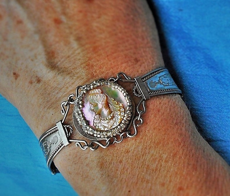 SALE  Mayan Aztec Cameo Silver Artist Cuff Hand Wrought Bracelet w Mayan Hand Carved Mother of Pearl Queen I Added /&Tiny Silver Seed Beads
