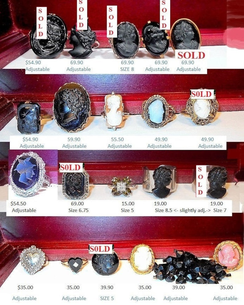 SALE RING New Punk Wide Band Above Knuckle Mid Finger Silver Tone Ring w 50/'s Side Cut Profile Cameo Permantly Glued 19.90 Each or 35.00 Pr