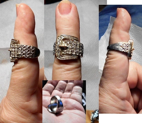 Hence the Price Only 19.90 SALE 1 Buckle Ring Vintage Silver Tone Rhinestone Buckle Old Conditon Loosing Tone on Back Size 7