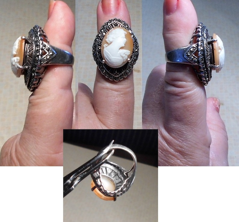 Marcasite 925 Ring SALE 1 Vintage Hand Carved Shell Cameo SterlingOpen Work Vintage Ring Size 6 Large Flowered Cameo Ring  179.90  OOAK